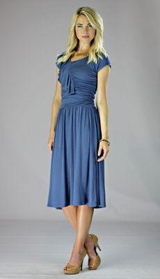 """""""Ellie"""" Modest Dress in Egyptian Blue"""