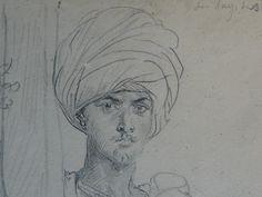 CHASSERIAU Théodore,1846 - Arabe coiffé d'un Turban, debout contre un Arbre - drawing - Détail 05