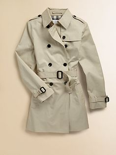 Burberry - Girl's Trenchcoat - Saks.com    My nieces have such a classy sense of style, and they're only 9 and 6 years old! One for each of them!