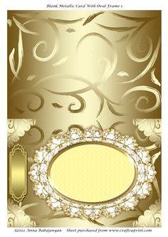 Blank Metallic Card With Oval Frame 1 on Craftsuprint designed by Anna Babajanyan - Blank Cut