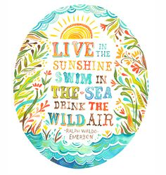 'Live in the sunshine, swim in the sea, drink the wild air' - Ralph Waldo Emerson