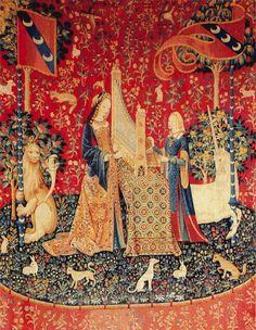 Antique Flemish Medieval Tapestry depicting The Lady & the Unicorn Medieval Tapestry, Medieval Art, Unicorn Cross Stitch Pattern, Cross Stitch Patterns, Unicorn Tapestries, Renaissance Kunst, Art Moderne, Tapestry Weaving, Renaissance