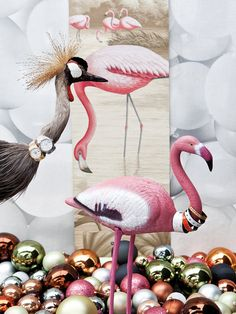 Christmas - the Flamingo is symbol of longevity and health !! Around their neck : Hermes bracelets and Rolex watches