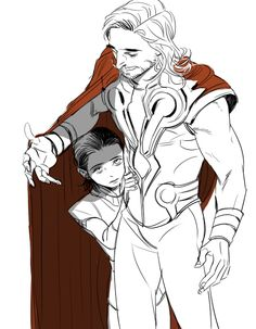 Thor and young Loki.   Loki: Thor, please, please, PLEASE don't make me do this. / Thor: Loki, brother, peace.  If you truly are not ready for this, 'tis fine, but I would have you meet my friends and...'show you off' to them as the Midgardians say.