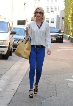 "Get this timeless look of jeans and a white shirt, but bring it into 2013 by ""ambling up"" the look.get this look with the CAbi Collette Top or Eliza Blouse and new Ruby jean from CAbi 13 spring collection. Big Fashion, New York Fashion, Cobalt Blue Pants, Fall Outfits, Cute Outfits, Summer Outfits, Work Chic, Business Fashion, Autumn Winter Fashion"