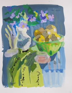 Gouache - Linda Hunt Fine Art Be Still, Still Life, Gouache, Objects, Shapes, Fine Art, Purple, Painting, Color