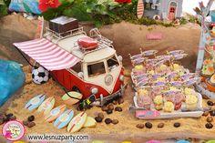 Shots de mango, frutas del bosque y maracuyá para mesa dulce temática de Surf - Surf themed Sweet table