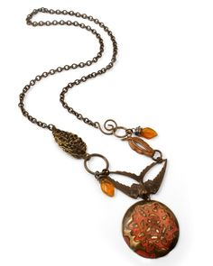"""Learn how to dap and texture Altered Blanks & wire wrap with this necklace by Betsy Kaage (""""Fiery Ember"""")"""