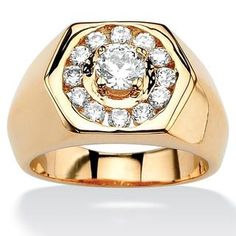 Featuring a unique hexagon design, this stylish ring is adorned with dazzling white cubic zirconia gemstones. Crafted of gold overlay, this stunning ring shines with a highly polished finish. Gold Pinky Ring, Mens Pinky Ring, Gold Jewelry, Fine Jewelry, Beach Jewelry, Beautiful Gold Rings, Mens Gemstone Rings, Gents Ring, Gold Chains For Men