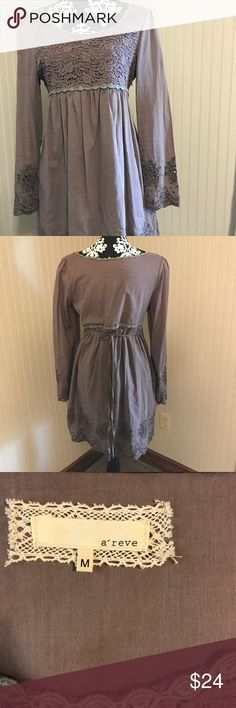 Nordstrom brand dress. Lace detailing. Dusty purple long sleeve dress from Nordstrom. A'Reve Dresses Long Sleeve