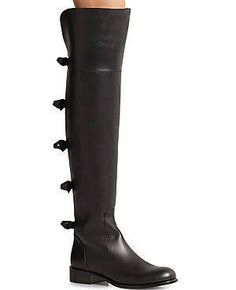 Valentino Leather Over-The-Knee Bow Boots - Black