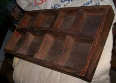 Old Primitive Wood Tote Cubby Carrier Original Patina Maine Barn Find