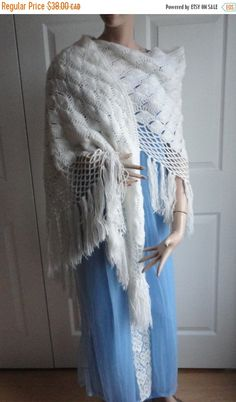 On Sale Vintage White Crocheted Yarn Women Shawl, Wrap  Boho or Hippie Look from 60s - pinned by pin4etsy.com