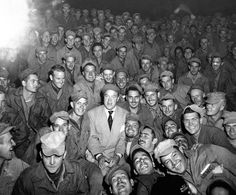 Bob Hope, radio and screen star, sits with men of X Corps, as members of his troupe entertain at Womsan, Korea on October Rare Photos, Old Photos, American Actors, American History, Bob Hope, Thanks For The Memories, Thing 1, Korean War, Vietnam War