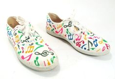 Vintage Musical notes print Keds style sneakers size 7.5us