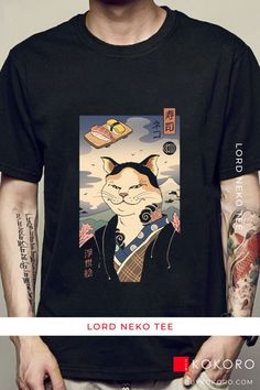 Go out in style with the noble Lord Neko of Kokoro. Lord Neko Tee, Men's Fashion, Men's Street Style, Men's Summer Outfit, Men's Style Inspiration, Men's Casual Style, Men's Classy Style, Aesthetic Tee, Comfortable Tee, Traditional Tee, Men's Clothing Inspiration, Men's Urban Style! #tee #mensfashion #fashionblogger #casualoutfit #kokorostyle