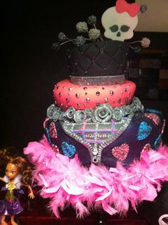 Monster High Cake covered with fondant. Gumpaste flowers, skull, hearts and zipper. Cake topper balls are fondant balls dried, dipped in chocolate and covered with candy pearls. You can't tell from this picture, but this is actually a three tier topsy turvey cake