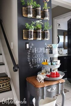 Home Decor Living Room Looking for DIY coffee bar ideas? This at home countertop coffee bar is perfect for small spaces and looks great in your kitchen! – Style Of Coffee Bar In Kitchen Diy Kitchen, Kitchen Design, Kitchen Ideas, Kitchen Plants, Decorating Kitchen, Cafe Kitchen Decor, Kitchen Soffit, Kitchen Bars, Awesome Kitchen