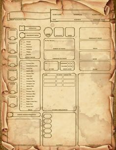 Made a custom Edition scroll themed character sheet. Dungeons And Dragons 5e, Dungeons And Dragons Characters, Dungeons And Dragons Homebrew, Dnd Characters, Character Sheet Writing, Character Sheet Template, Dnd 5, Dnd Classes, Game Ui Design