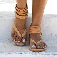 a611df54034b1e Shop Women s Shoes - Women Pu Sandals Casual Flip Flops Zipper Shoes  online. Discover unique. Brown SandalsAnkle Wrap SandalsFlat ...