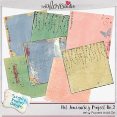 Art Journaling Project No.2 - digital Artsy Papers Add On from Sunshine Inspired Designs. These fun artsy papers coordinate with the Art Journaling Project No.2 Bundle. This bundle can be used for digital scrapbooking as well.