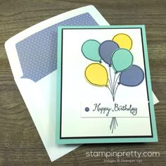 Stampin Up Balloon Celebration Birthday Card & Envelope By Mary Fish…