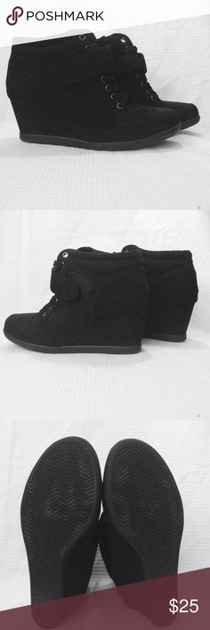 High Top Boots -High Top Shoes with velcro and laced up stitching                                                                   -Has a zig zag bottom sole                                      -Has a two and a half inch heel                             -Has a Forever logo inside and on the bottom of the shoe with the number 7                                            -With several stitched designs around the shoe Forever  Shoes Heeled Boots