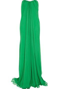 Alexander McQueen|Strapless draped silk-chiffon gown|NET-A-PORTER.COM