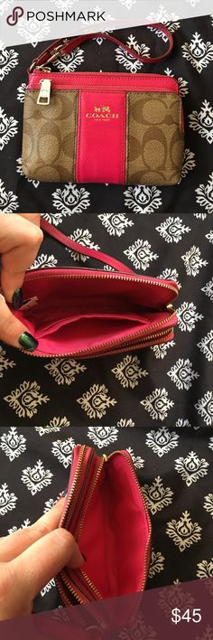 COACH pink and tan wristlet COACH pink and tan wristlet. Like new just one mark on front clean on inside. Great little wristlet. Thanks Coach Bags Clutches & Wristlets