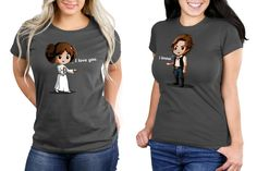 These cute women's Star Wars Princess Leia and Han Solo matching t-shirts are available at TeeTurtle ⭐️The Kessel Runway ⭐️ Star Wars fashion ⭐️ Geek Fashion ⭐️ Star Wars Style ⭐️ Geek Chic ⭐️