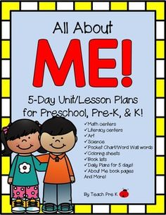 All About Me!  This theme is great for the beginning of the year as teachers and friends get to know each other better.  In this 5-day fully planned for you unit, kids will get to know their names, their bodies, their birthdays, and the similarities and differences in all of us!