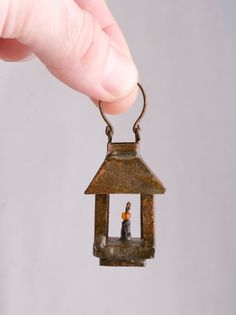 Miniature Metal Lantern for Terrarium or Dollhouse