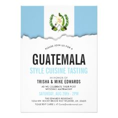 Guatemala Cuisine | Party Flag White Invite - tap to personalize and get yours Invitation Card Design, Wedding Invitation Cards, Custom Invitations, Bridal Shower Invitations, Invite, Guatemala, Party Flags, Wedding Shower Gifts, Bridal Gifts