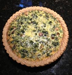 Spinach and mushroom quiche, made 6/22/13 for Colin & Jess & Rob. Was good but a bit runny -- used 1% lactaid milk. Next time use whole milk?