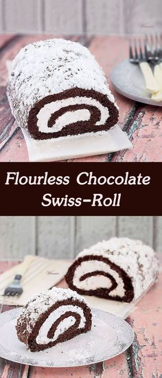 Flourless Chocolate Swiss-Roll - filled with whipped cream and ground chocolate. Gluten free