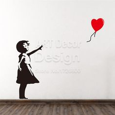 Aliexpress.com : Buy Banksy Vinyl Wall Sticker Home Decor Girl with Heart Balloon Street Graffiti Art Decal There Is Always Hope Mural Free shipping from Reliable sticker decals for cars suppliers on BigDream Art decor Store