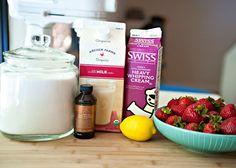 homemade strawberry ice-cream sans eggs
