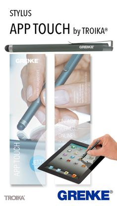 APP TOUCH by TROIKA® - GRENKE engraving + individual paper inlay. Stylus, with metal clip *** Eingabestift, mit Metallclip