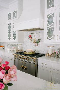 Whimsical Heart Valentine Wreath Tutorial - Randi Garrett Design. Pink Valentine's decor in white marble kitchen