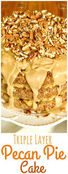 Pecan Pie Cake Pecan Pie Cake, Pecan Pie Filling, Praline Cake, Pecan Pies, Apple Pies, Cake Recipes, Dessert Recipes, Let Them Eat Cake, Just Desserts