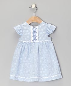 Look at this Blue & White Frill Smocked Dress - Infant on #zulily today!