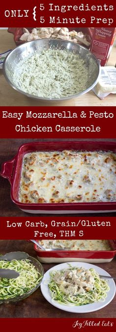 Easy Mozzarella & Pesto Chicken Casserole - Low Carb, Grain Free, THM S, Gluten Free - This Easy Mozzarella & Pesto Chicken Casserole has only 5 ingredients and mixes up in 5 minutes. via @joyfilledeats