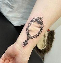 Mirror Tattoo on Wrist by Kat Worrall