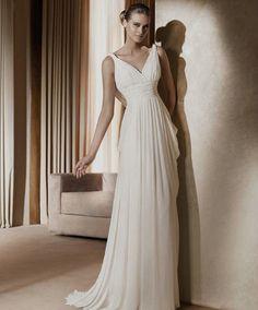 Chiffon Sleeveless Ruched V-neck Column Wedding Dress