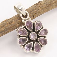 Flower design oxidized Pendant 925 Pure Sterling Silver Natural AMETHYST Stones #Unbranded #Pendant Amethyst Jewelry, Amethyst Pendant, Amethyst Stone, Sterling Silver Pendants, 925 Silver, Silver Jewellery Indian, Tourmaline Gemstone, Silver Flowers, Handcrafted Jewelry
