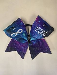 Sublimated glitter infinity and beyond cheer bow Sparkly Cheer Bows, Cute Cheer Bows, Cheer Mom, Cheer Stuff, Cheer Hair Bows, Cheer Funny, Competition Bows, Dance Bows, Birthday Cheers