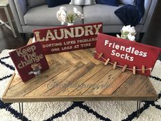 Hand painted laundry, keep the change and friendless socks wood signs decor 2016 @bethanyarriola