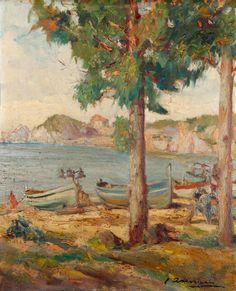 """ASENSIO MARINÉ, Joaquín (Barcelona, 1890 – 1961). """"Vista de la costa"""". Óleo sobre táblex. Firmado en el ángulo inferior derecho. Medidas: 45 x 36,5 cm; 60 x 51 cm (marco)."""