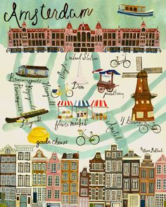 Map of Amsterdam — Anisa Makhoul Amsterdam Map, Amsterdam Netherlands, Netherlands Map, Art Carte, Voyage Europe, Travel Illustration, City Maps, Travel Maps, Vintage Travel Posters