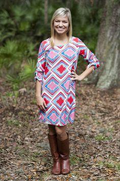 Bright Aztec Day Dress - Retro Darling